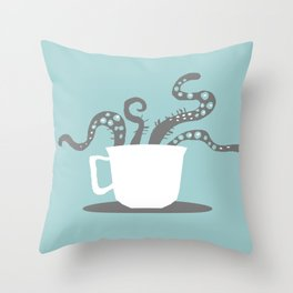 A Nice Cuppa, Tentacles and Winter Things Throw Pillow