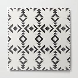 Tribal Geometry No.004 / Black and Ivory Metal Print