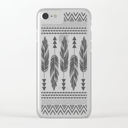 Tribal Feathers-Black & Cream Clear iPhone Case