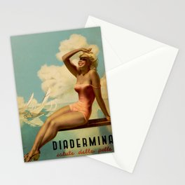 Vintage 1937 Suntan Lotion Diadermina by Gino Boccasile Lithograph Advertisement Poster Stationery Cards