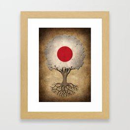 Vintage Tree of Life with Flag of Japan Framed Art Print