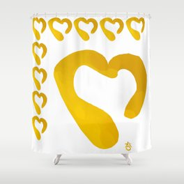 Gold Hearts on White - Love is Golden Shower Curtain