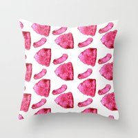 meat Throw Pillows featuring Meat by XiaBoiii