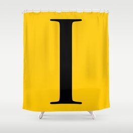 Serif I. Black on Yellow. Shower Curtain