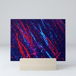 Red Blue Purple Stars Neon Glitter Confetti Colorful Pattern Fourth of July Presidents Day Fractal Mini Art Print
