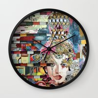 marie antoinette Wall Clocks featuring Marie Antoinette by Katy Hirschfeld