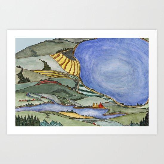Large Lake Landscape Art Print