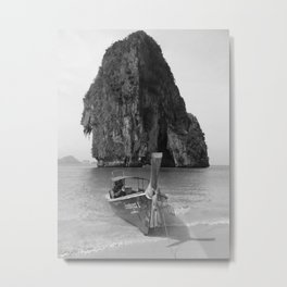 Black and White Krabi beach Metal Print