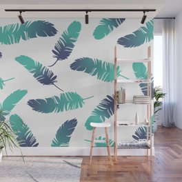 Feathers blue turquoise white Wall Mural