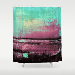 Green Color Patches Shower Curtain