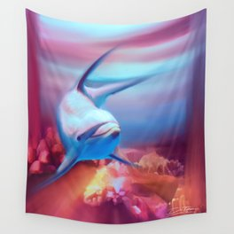 Underwater Dolphin Painting Wall Tapestry