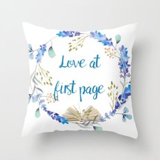 Love at first page Throw Pillow