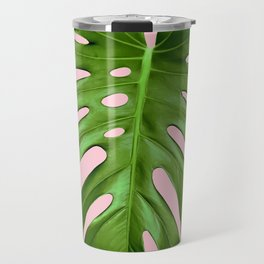 Pink Monstera Travel Mug