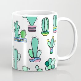 Mint and Pink Cactus, Potted Flowers Hipster Pattern Coffee Mug