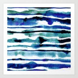 Laguna Watercolor Stripe Art Print