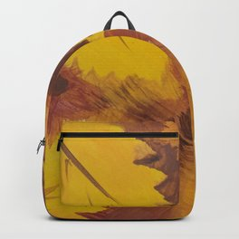 Yellow Autumn Leaf and a red pear painting Fall pattern inspired by nature colors Backpack