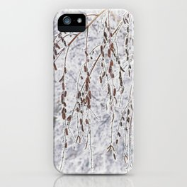 Birch branches covered with snow in the winter snow-covered forest iPhone Case