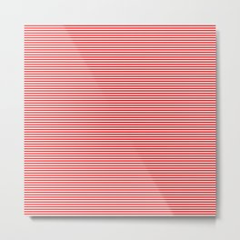 Thin Berry Red and White Rustic Horizontal Sailor Stripes Metal Print