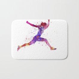 Woman runner running jumping shouting Bath Mat