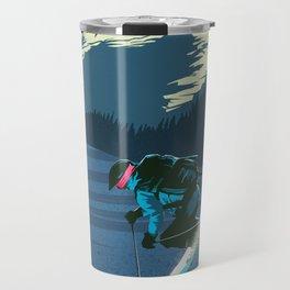 Retro Sunset Alpine Ski Travel Poster Travel Mug