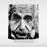 einstein Shower Curtains featuring Einstein by lyneth Morgan