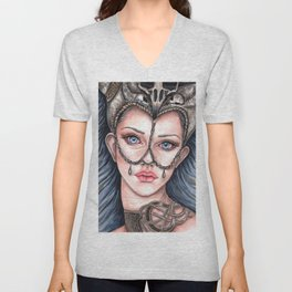 Viking Warrior Princess Fantasy Art Skull Crown Laurie Leigh Unisex V-Neck