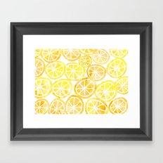 Yellow lemon in watercolor Framed Art Print