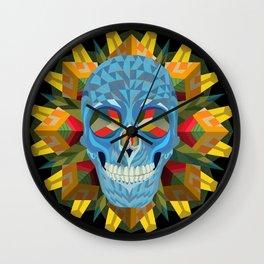 Blue Skull with Mandala Wall Clock