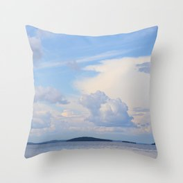 Blue Lakescape With White Clouds In The Blue Sky #decor #society6 Throw Pillow
