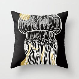 Electric Gold Jellyfish Uno Throw Pillow