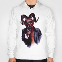 satan Hoodies featuring Uncle Satan by Zombie Rust