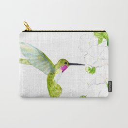 Hummingbird with moonflowers  Carry-All Pouch
