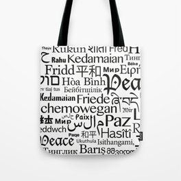 IMAGINE PEACE...  Say peace in 47 languages... Tote Bag