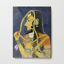 Bani Thani female portrait painting in traditional Rajasthani, the Mona Lisa of India by Nihal Chand Metal Print
