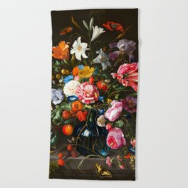 "Jan Davidsz de Heem ""Vase of Flowers"" Beach Towel"