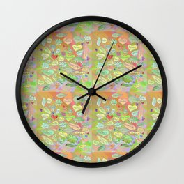 Positive Thought Leaves, Hearts, Flowers Wall Clock