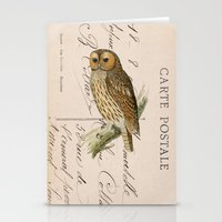 postcard Stationery Cards featuring Owl postcard by Vintage@Heart