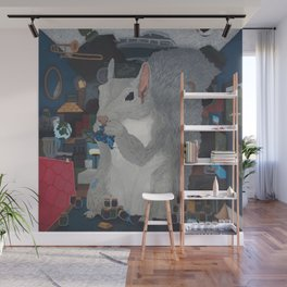 Grey Hoarding Squirrel (in a Blue Room) Wall Mural