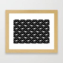 White Scottish Terriers (Scottie Dogs) & Hearts on Black Background Framed Art Print