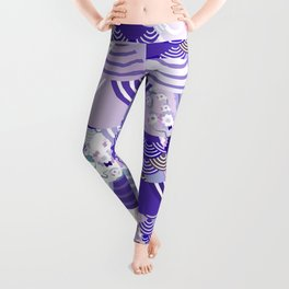 Nature background with japanese sakura flower, Cherry, wave circle. Ultra Violet Color of the Year Leggings