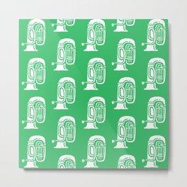 Tuba Pattern Green Metal Print