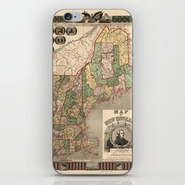 Map of New England 1847 iPhone Skin
