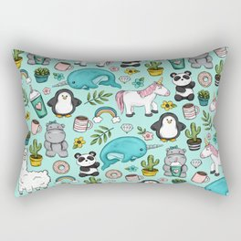 Narwhal and Friends, Emoji Tween Print, Pre-teen Girls, Unicorns, Panda, Llamas and Doughnuts Rectangular Pillow