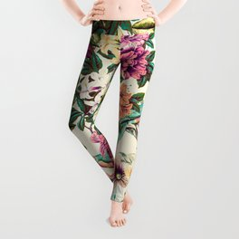Floral and exotic birds-0010 Leggings