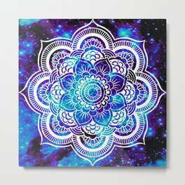 Mandala : Bright Violet & Teal Galaxy Metal Print