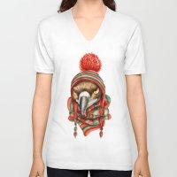 hawk V-neck T-shirts featuring Hawk by Julia Badeeva