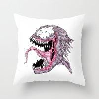venom Throw Pillows featuring Venom by Daniel Pearson