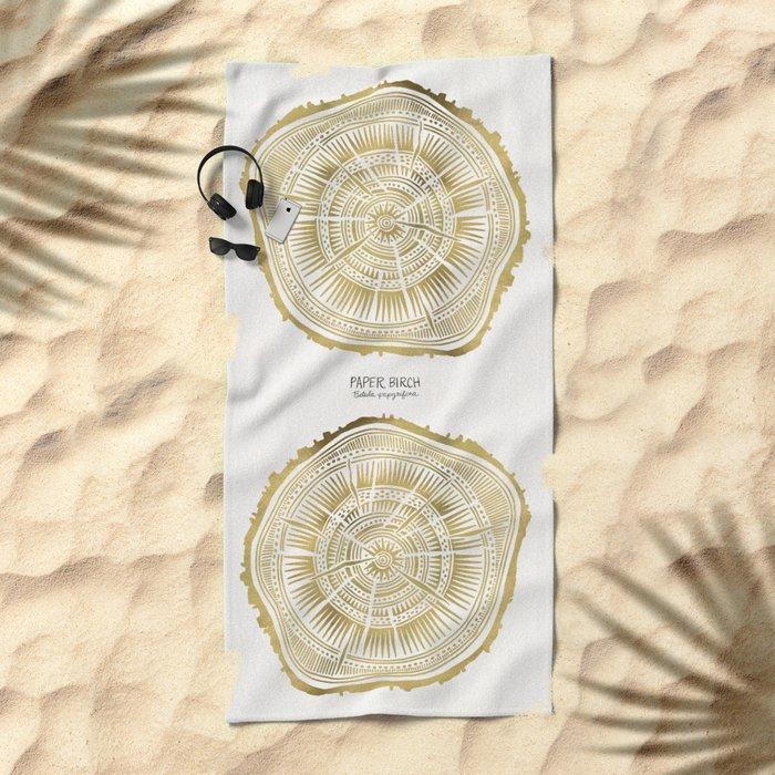 Paper Birch – Gold Tree Rings Beach Towel