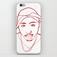 tupac iPhone & iPod Skins featuring Tupac no. 1 by Colin Douglas Gray