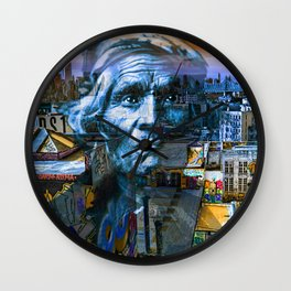 Ghost Tribe Native Americans in New York Blue Wall Clock